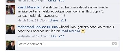 testimoni ebook Panduan Dominasi FB Group