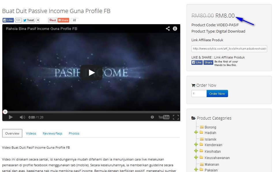 video buat duit passive income guna FB